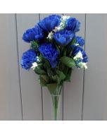 Artificial 45cm Royal Blue Carnations - 18 Heads