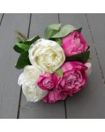 Artificial 31cm Pink and Ivory Peony Bunch