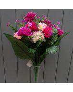 Artificial 41cm Light Pink, Cerise and Purple Chrysanthemum Bush