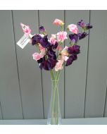 Artificial 42cm Pink and Purple Sweet Pea Flowers Bunch