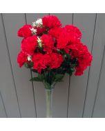 Artificial 45cm Red Carnation Bush - 18 Heads