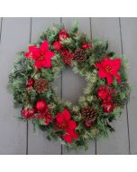 Artificial 40cm Red Poinsettia Spruce Wreath