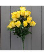 Artificial 45cm Yellow Rose Bush - 18 Heads
