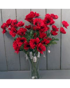 10 x Red  Artificial Poppies - 45cm