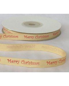"Full 25m Roll of 10mm Gold ""Merry Christmas"" Ribbon"