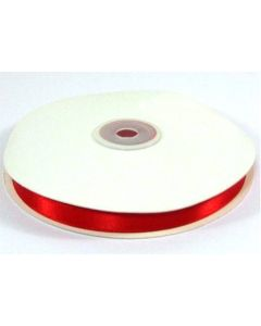 Full 50m Roll of 10mm Red Satin Ribbon