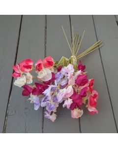 Artificial 40cm Pink Sweetpea Bunch – 12 stems