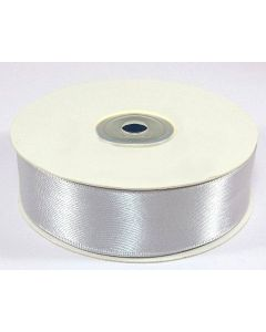 Full 25m Roll of 25mm Silver Satin Ribbon