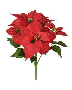 40cm Artificial Red Poinsettia Bush