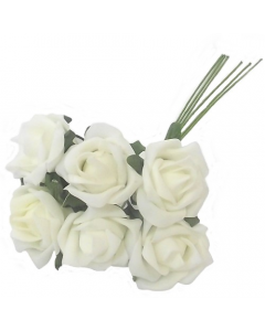 36 x Bunches of 6 Colourfast Ivory Foam Roses
