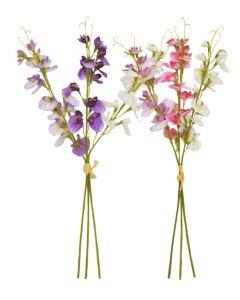 40cm Artificial Sweetpeas Pink, Purple, Ivory - 6 Stems