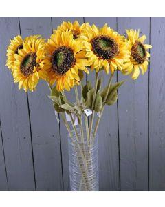 6 x 64cm Artificial Realisic Sunflower Stems