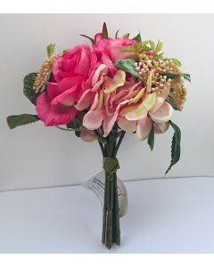 22cm Artificial Pink Rose and Hydrangea