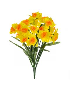 46cm Artificial Yellow Daffodil Bush - 28 Flower Heads