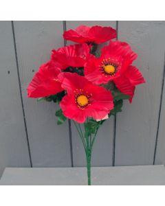 Artificial Red Poppy Bush