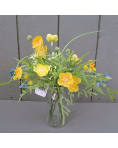 Artificial Buttercup Flowers with Vase