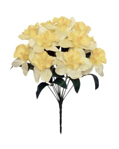 39cm Artificial Daffodil Bush - 12 Flower Heads-Light Yellow