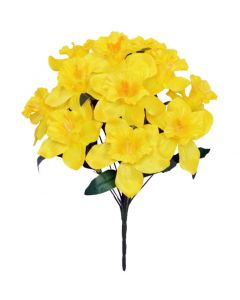 39cm Artificial Daffodil Bush - 12 Flower Heads