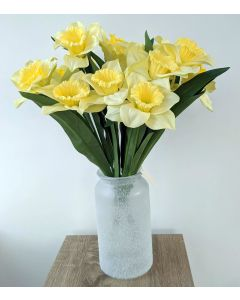 Artificial Daffodils in Frosted Vase