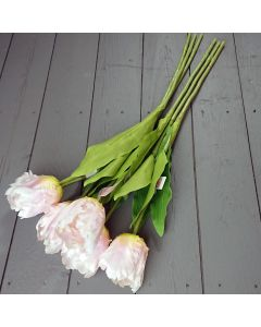Artificial 65cm Light Pink Parrot Tulips - Bunch of 6