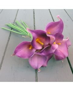 Artificial Real Touch Light Purple Calla Lily Bunch
