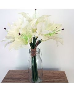 Artificial 26cm Ivory Lilies in Glass Bottle
