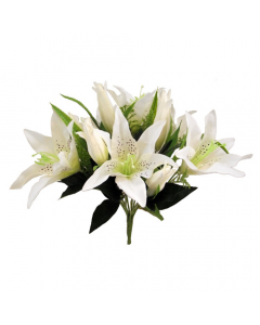 48cm Artificial Ivory Lily and Fern Bush