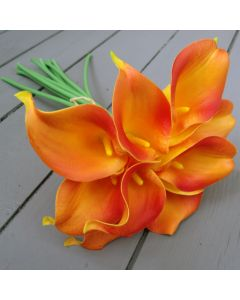 Artificial Real Touch Orange Calla Lily Bunch