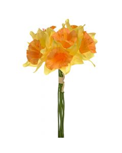 34cm Artificial Daffodils Bunch of 6 - Yellow / Orange