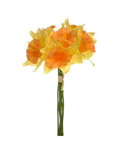 34cm Artificial Daffodils Bunch of 6 - Yellow / Orange
