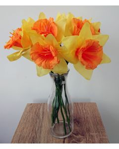 12 Artificial Daffodils with Vase
