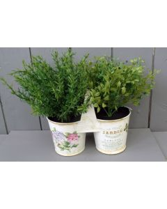 Artificial Oregano and Thyme Herbs in Pot