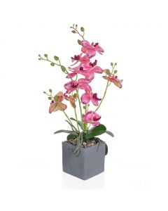 49cm Artificial Pink Orchid in Slate Pot