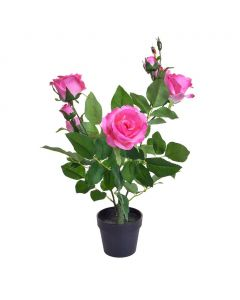 45cm Artificial Pink Rose Plant in Pot