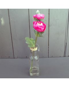 Artificial Pink Ranunculus in a Glass Bottle Vase