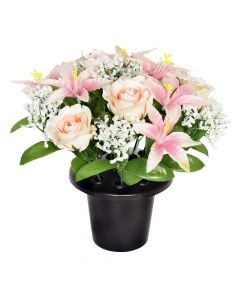 Artificial Pink Rose and Lily Grave Pot