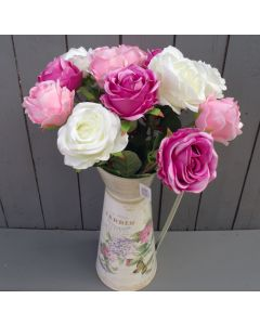 Artificial Pink and Ivory Roses in Jug