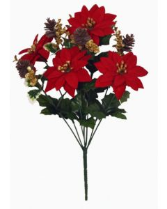 40cm Artificial Poinsettia and Eucalyptus Bush