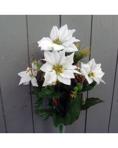 Artificial White Poinsettia and Foliage Flower Bush