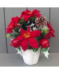 Artificial 24cm Poinsettia, Cone and Berry in White Pot