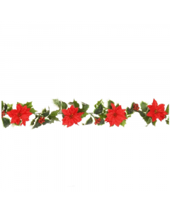 Artificial 6ft Poinsettia and Holly Garland