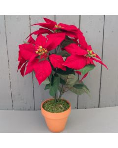 Artificial Poinsettia Plant in Pot