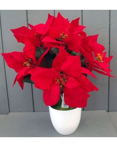Artificial Poinsettia Plant in White Pot