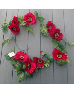 Artificial 6ft Red Poppy Garland with Large Flower Heads