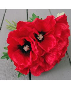 Artificial Red Poppy Flower Bunch