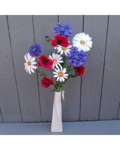Artificial Poppy, Cornflower and Daisy in Vase