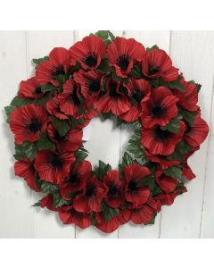 36cm Artificial Red Poppy Wreath with Leaves