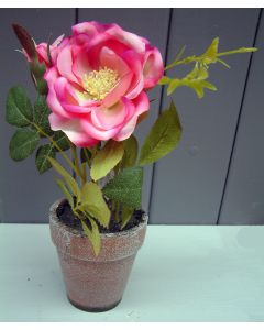 Artificial 22cm Pink Potted Rose