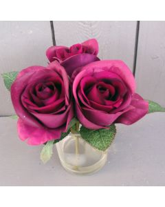 Artificial Purple Roses in Vase