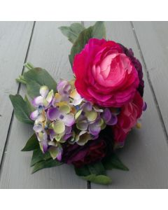 Artificial Pink and Purple Ranunculus with Hydrangea